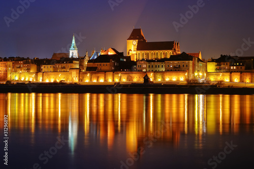 Night scene with medieval city