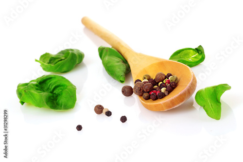 Foto op Canvas Kruiden 2 Wooden spoon, basil and spices isolated on white