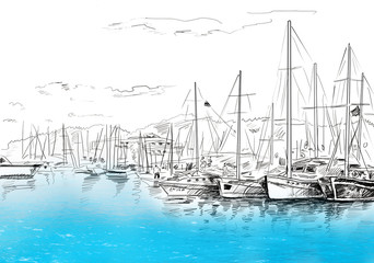 Panel Szklany Marynistyczny Sailing yachts and boat illustration