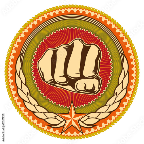 Illustrated retro emblem with fist. Tablou Canvas