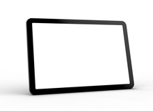 Tablet Pc -  Modern Black Tablet Computer Isolated On White Background. Tablet Pc And Screen With Clipping Path