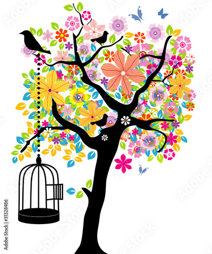 Poster Birds in cages Blooming Tree with Cage