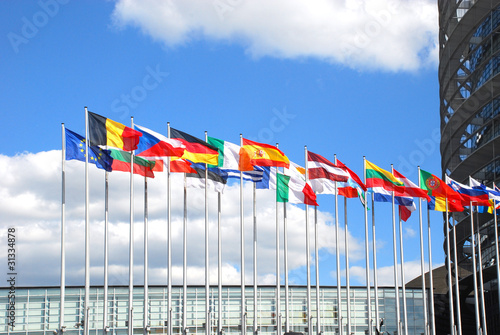Europarliament. Flags of the countries of the European Union