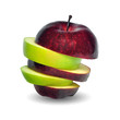red and green apple