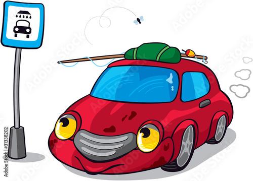 Foto op Canvas Cars Cute Cartoon Car next to Car Wash Sign