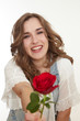 canvas print picture - maedchen mit rose