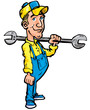 Cartoon plumber holding a tool