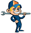Cute Cartoon plumber holding a tool