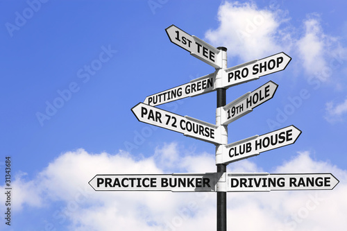 Tablou Canvas Golf course signpost