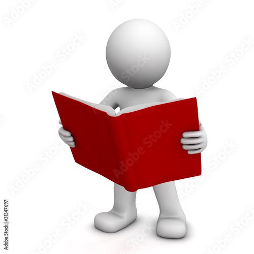 Fotografia  3D character reading book