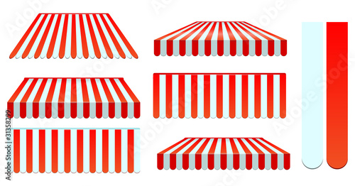 Fotografie, Obraz  red awnings set isolated on white