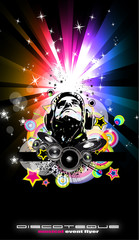 FototapetaAbstract Music Disco Flyer Background for special night events