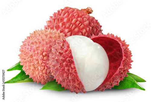 Isolated fruits. Fresh cut lychees isolated on white background