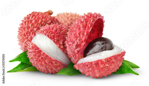 Isolated lychee fruits. Fresh cut lychees isolated on white background