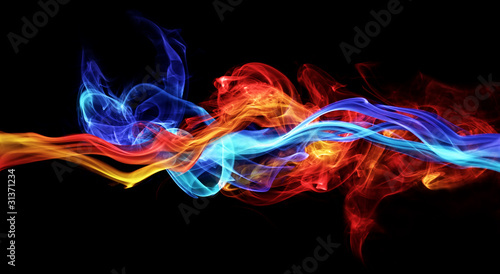Photographie Red and blue smoke