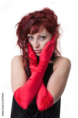 Sexy Young Red Haired In Black Evening Dress And Red Gloves Buy
