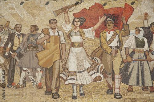 Photo albanian nationalistic mural in tirana albania