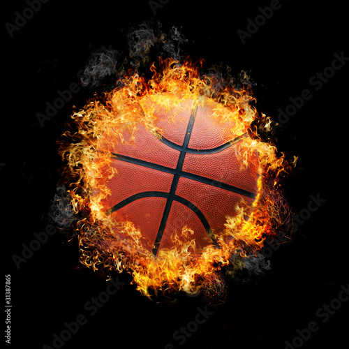 Basketball on fire isolated on black background