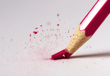 Red Tip Of A Pencil Shattering
