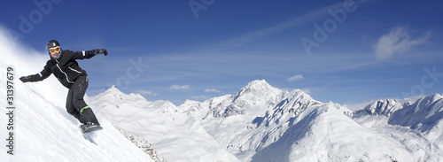 Poster Glisse hiver Mont Blanc