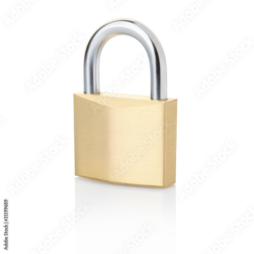 Photographie  Padlock isolated on white, clipping path included