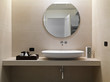 Leinwandbild Motiv Bagno Moderno con rivestimento in marmo e lavabo in ceramica bia
