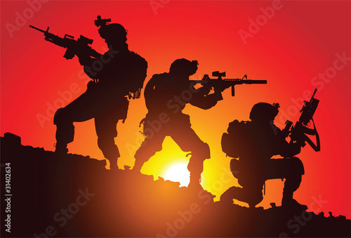 Poster Militaire Silhouette of three soldiers on the battlefield