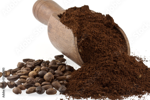 Canvas Prints Coffee beans café moulu et café en grains