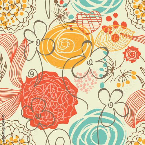 Cadres-photo bureau Fleurs abstraites Retro floral seamless pattern