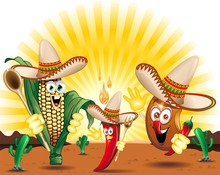 Messico Ricetta Gastronomica Cartoon-Mexican Food-Vector