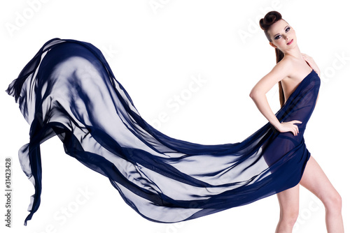 Fotografie, Obraz  Sensuality and elegant woman posing with chiffon