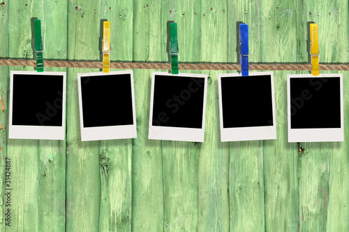 Five Blank Photos on Clothes Line