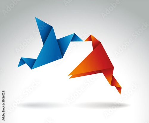 La pose en embrasure Animaux geometriques Paper Kiss, Origami symbolic vector illustration.