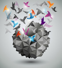 Obraz Paper Freedom, Origami abstract vector illustration.