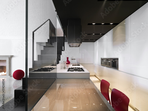 cucina moderna con scala in ferro a vista - Buy this stock ...