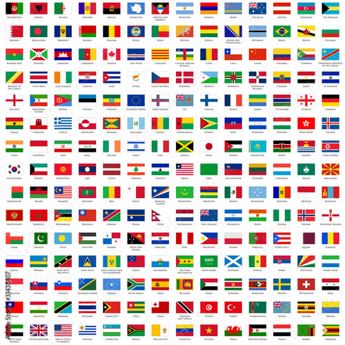 Fotografia  alphabetically sorted flags of the world