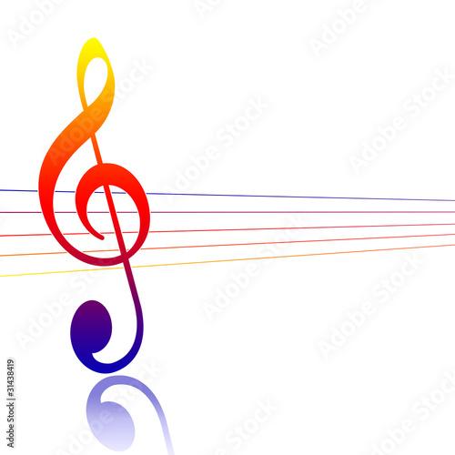 Fotografie, Obraz  Chiave musicale colorata
