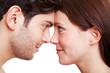 canvas print picture - Paar schaut sich verliebt in die Augen