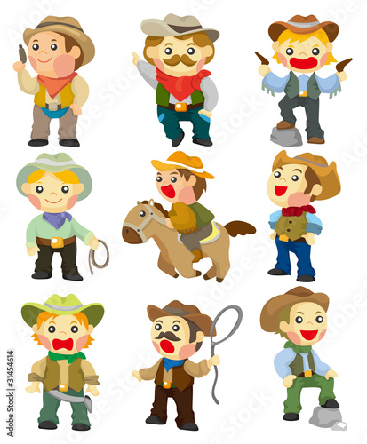 Deurstickers Wild West cartoon cowboy icon