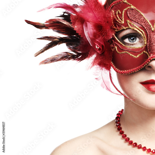 Spoed Foto op Canvas Carnaval The beautiful young woman in a red mysterious venetian mask