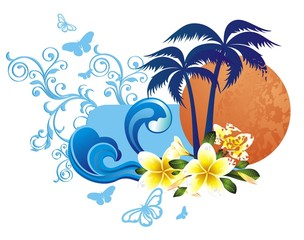 Fototapeta na wymiar Summer tropical background with frangipani (plumeria) flowers