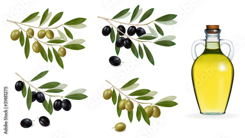 Big set with green and black olives and bottle of olive oil. Tapéta, Fotótapéta