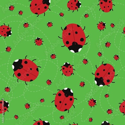 Foto op Canvas Lieveheersbeestjes seamless green background with Ladybirds