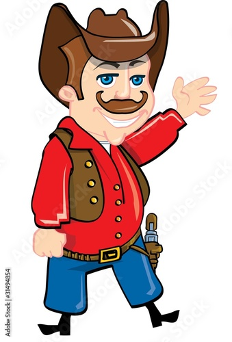 Deurstickers Wild West Cartoon cowboy with a gun belt