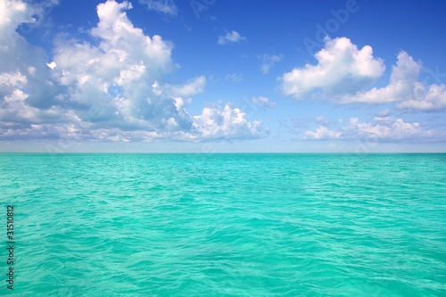 Fotomural  Caribbean sea horizon on blue sky vacation day