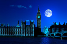 Night Scene In London Showing The Big Ben And A Bright Moon