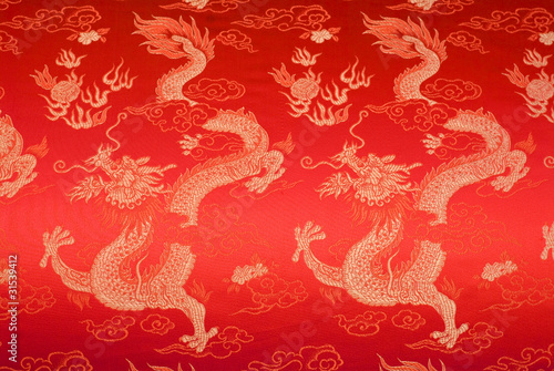 Photo  Fragment of red chinese silk