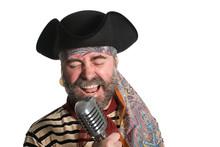 Singer Sings In An Old Microph...