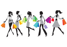 Shopping Girls Silhouettes