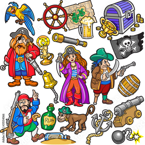 Ingelijste posters Piraten Big Colorful Set of Pirates Items, Icons